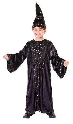 Deluxe Zauberer Kostüm Magier Robe Hut Gr.122/134 Fasching Halloween Samt