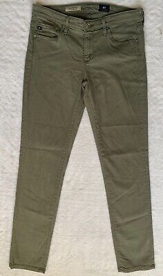 AG ADRIANO GOLDSCHMIED THE THE STEVIE ANKLE GREEN SLIM STRAIGHT STRETCH JEANS 28