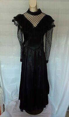 VINTAGE Gunne Sax Steampunk Gothic, Goth Girl Victorian Black Lace Dress. Size 9
