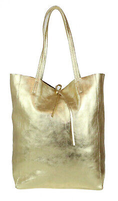 Ladies Open Top Tote Bag Italian Soft Real Leather Handbag Zipped Pocket Office