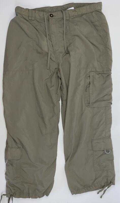 The North Face Khaki Hiking Pants Elastic Waist Cargo Capri Pants Womens Sz LG