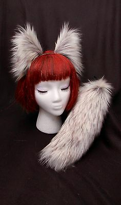 "White-Grey Arctic Fox Wolf Ears-Tail (13"") Set-Long Fashion Faux Fur- or Cat,Dog"