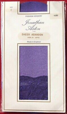 Jonathan Aston Sheer Abandon Hold Ups Nylon Stockings Violet Size C