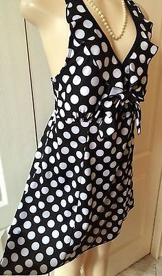 Womens Plus Swim Suit 1X One Piece New Black Dot Swimdress Xl 16 Nwt Cruise Deal