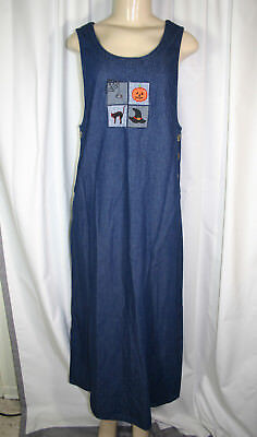 White Stag Sz M 8/10 Blue Denim Halloween Themed Sleeveless Long Jumper Dress - Halloween Themed Dresses