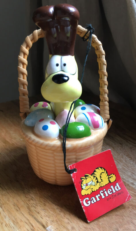 Vintage 1983 ODIE in Easter Basket ENESCO Garfield Collectible