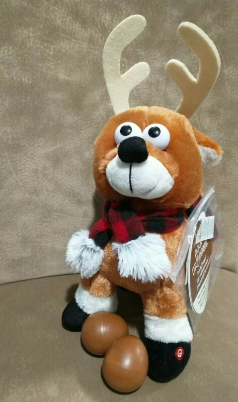 Gemmy Crazy Poop Dropping Christmas Reindeer Singing and Dancing 12""