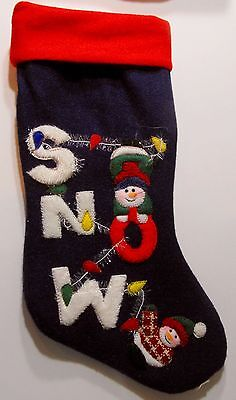 Santas Best Christmas Stocking Heavy PolyFelt with raised SNOW embellishment 18""