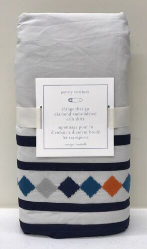 NEW Pottery Barn KIDS Things That Go Diamond Embroidered Crib Skirt-Baby Bedding