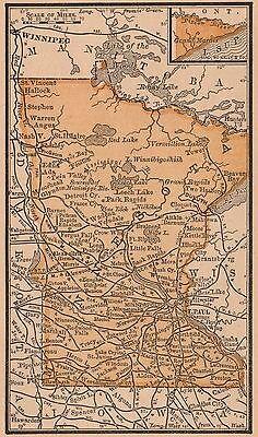 Framed Original 1889 Antique Map MINNESOTA St Paul Duluth Austin Winona St Cloud