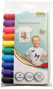 IDENA Textilmarker 10er Set Wäschemarker Stoffmalstifte Textilstift WoW 60035
