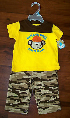 New! Boys CHILD OF MINE 2pc Brown Yellow Camouflage Construction Monkey Outfit