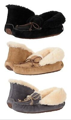 Authentic UGG Soft Alena Slippers Women's Moccasin Shoes Black Chestnut New