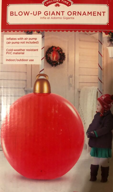 Giant RED Christmas Ornament Yard Blow UP Inflatable 4 ft Tall