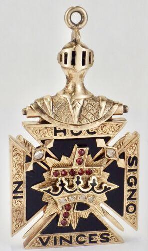 Vintage 14K Yellow Gold Ruby Knights Templar Masonic FOB Pendant 19.5 Grams