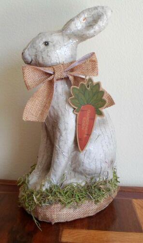 "Gardeners Eden Paper Mache Easter Bunny 11"" Figurine Glitter French Script Moss"