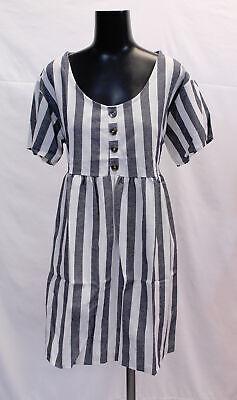 Boohoo Women's Plus Striped S/S Smock Dress SC4 Blue Size US:18 UK:22 NWT