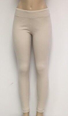 Ladies Cotton Spandex Rib Knit Legging Pant Sizes S-M-L-XL Color Cream White -