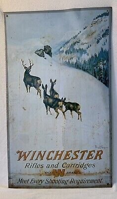 WINCHESTER RIFLES AND CARTRIDGES 1991 METAL SIGN PHILIP R GOODWIN DEER W BRAND