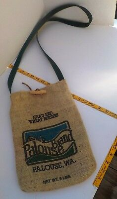 Burlap Shoulder Bag, Palouse Brand, Lined With Button and Green Strap 13 x 9""
