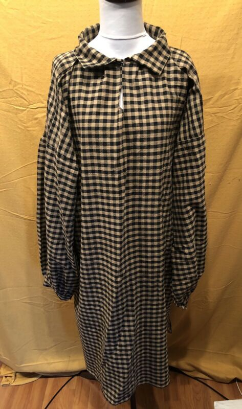 XX Large Black Check Homespun Longhunter Shirt, Mountain Man, Pirate, Colonial