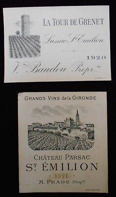 2 ~ 1920's FRENCH WINE LABELS  ~ST. EMILION AND LA TOUR DE GRENET-RARE!
