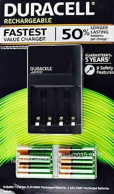 Duracell Rechargeable Batteries 6 AA 4 AAA with Ion Speed 1000 Battery Charger