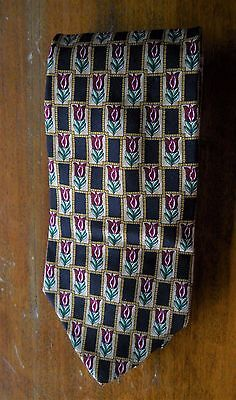 """Brooks Brothers Makers Multi-Colored Tulip All Silk Neck Tie Made U.S.A. 59"""""""