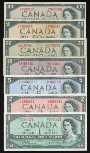 1954 Bank of Canada $1 - $100 Banknote Set