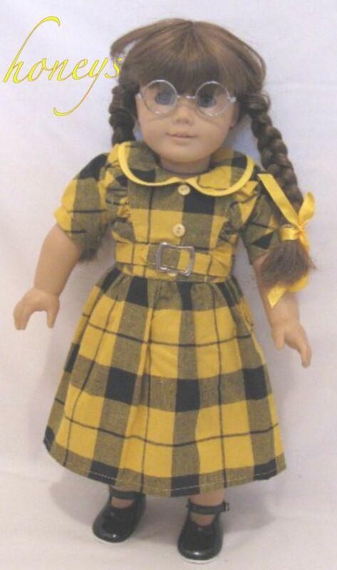 "For 18"" Americnan Girl Doll Clothes PLAID DRESS W/BELT BLOOMERS RIBBONS & DONUTS"