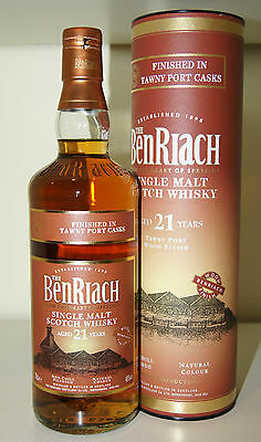 BenRiach 21y 46% Tawny Port Finish bottled 2016 0.7L