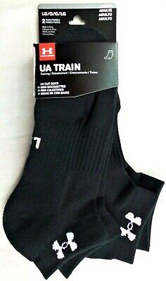 Under Armour Low Cut Socks 2 Pairs Pack Large Black White UA Train Heatgear (Gear Low Cut Socks)