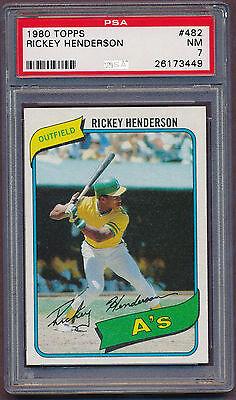 1980 Topps Baseball Card - 1980 Topps Rickey Henderson Oakland Athletics #482 Baseball Card PSA 7!!!