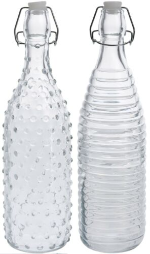 Set of 6 x 1 Litre Clear Glass Clip Top Bottles with Reusable Swing top Lid