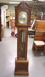 Vintage Emperor Grandfather Clock Ship Moon Dial Newly Serviced