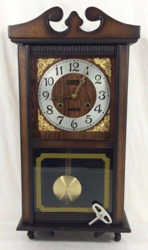 Vtg Centurion Walnut Finish Wood Wall Clock Chime 35-Day w/ KEY ~ Works Great ~