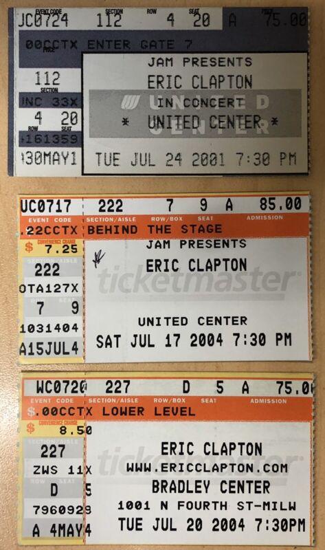 3 Eric Clapton Genuine Used Ticket Stubs