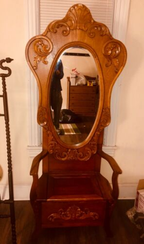 1900s antique hallway Stand Mirror umbrella coat seat Rare ornate hall tree WOW