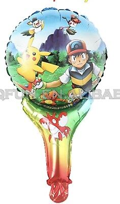 5 Pokemon, Pikachu & Friends Birthday Party Balloons, Handheld FREE SHIP - Pokemon Party Supplies