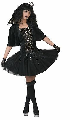 Hexen Cape (Hexenkostüm Damen schwarzes Kleid Sternenfee m. Cape Gr.32-46 Karneval Fasching)