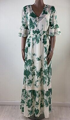 HOPE & IVY Cream Green Floral Wrap Maxi Dress With Lace Trim UK 14 BNWT
