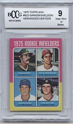 1975 TOPPS MINI #623 ROOKIE INFIELDERS HERNANDEZ RC BCCG NEAR MINT 9 OR BETTER