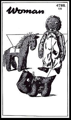 DOG HORSE & Black Americana DOLL Toy Stuffed Animal Fabric Sewing PATTERN #4788