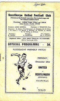 Scunthorpe United v Reutlingen 1958/9 (29 Dec) Friendly