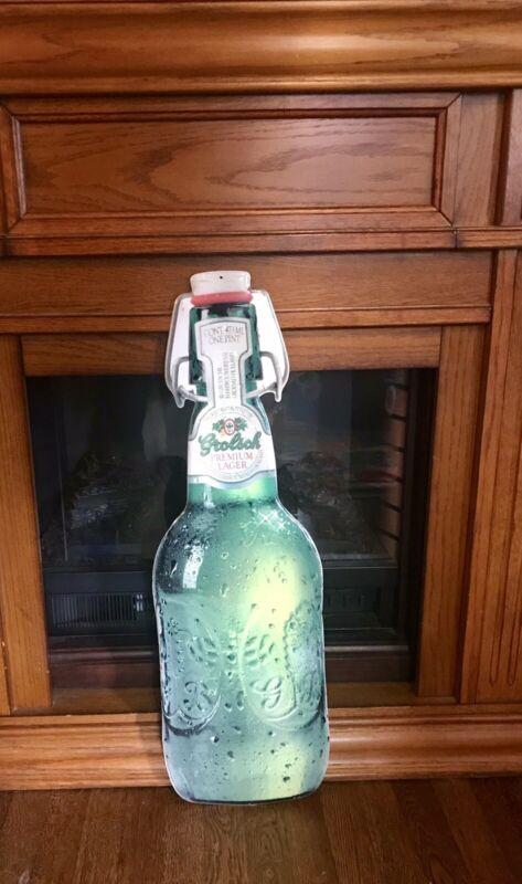 "Grolsch Beer Swing Lid Flip Top Tin Metal Bottle Sign Vintage Man Cave! 30""x9.5"""