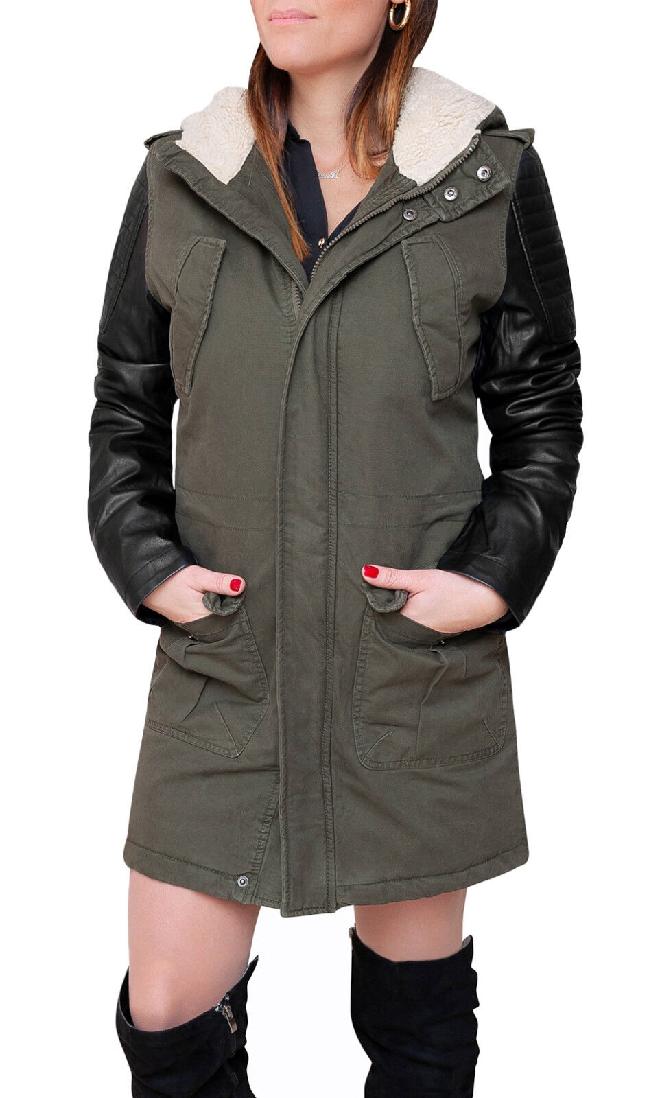 online store 0b7e6 9a9c1 Parka donna Diamond invernale verde casual giacca trench con ...