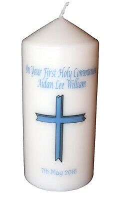 1st Communion Gifts For Boys (1st Holy Communion Candle personalised Gift Blue Cross for Boy   | Cellini)