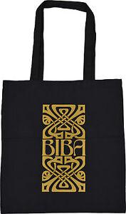 RETRO-BIBA-OF-KENSINGTON-LOGO-SHOPPING-ECO-TOTE-BAG-100-BLACK-COTTON-GOLD-PRINT