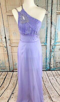 NWT Womens ROPALIA Lavender One Shoulder Sequins Open Back Gown Sz 8 M 10 L NEW