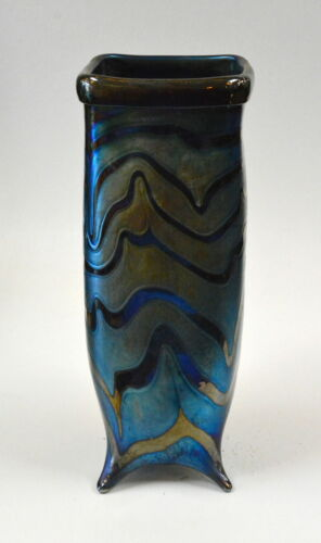 Blue Luster  Vase With Red King Tut Design. Blown Glass